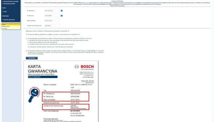 Zrzut ekranu rejestracji BOSCH