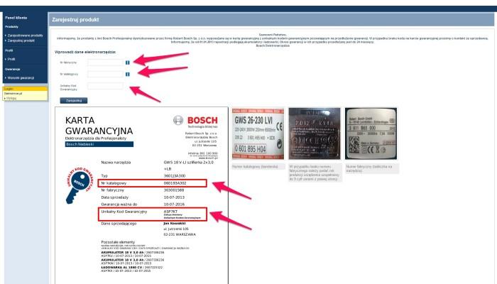 Zrzut ekranu rejestracji BOSCH6