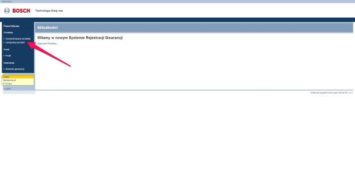 Zrzut ekranu rejestracji BOSCH5