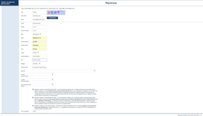 Zrzut ekranu rejestracji BOSCH2